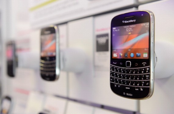 Blackberry phones displayed in a store