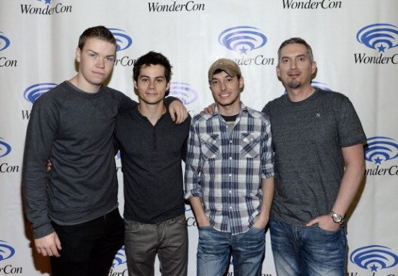 (L-R) Will Poulter, Dylan O'Brien, director Wes Ball and writer James Dashner