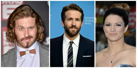 T.J. Miller, Ryan Reynolds, and Gina Carano