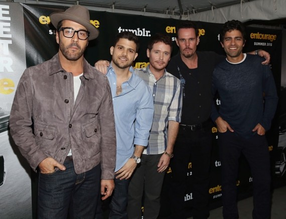 "The cast of ""Entourage"" movie (L-R): Jeremy Piven, Jerry Ferrara, Kevin Connolly, Kevin Dillon, and Adrian Grenier"