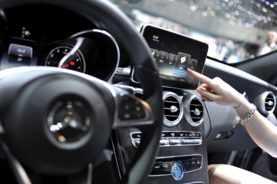 An Apple CarPlay screen is seen in a Mercedes-Benz car during the press day of the 84th International Motor Show which will showcase novelties of the car industry on March 5, 2014 in Geneva, Switzerla