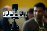 A rig holds 16 GoPro cameras designed for Google Jump during the 2015 Google I/O conference on May 28, 2015 in San Francisco, California.