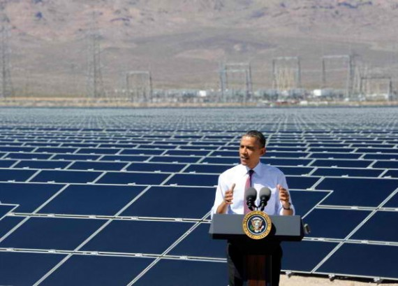 U.S. President Barack Obama speaks at Sempra U.S. Gas & Power's Copper Mountain Solar 1 facility, the largest photovoltaic solar plant in the United States