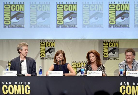 (L-R) Peter Capaldi, Jenna Coleman, Michelle Gomez, Steven Moffat