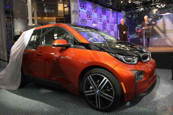 LOS ANGELES, CA - NOVEMBER 20: The BMW i3 is unveiled as it wins the Green Car of the Year Award at the 2014 Los Angeles Auto Show on November 20, 2014 in Los Angeles, California. This year's show is slated to have a record 25 world auto debuts with at le