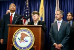 NEWARK, NJ - AUGUST 11: Securities and Exchange Commission Chair Mary Jo White speaks during a press conference with Secretary of Homeland Security Jeh Johnson (L) and U.S. Attorney for New Jersey Paul J. Fishman (2nd R) on August 11, 2015 in Newark, New