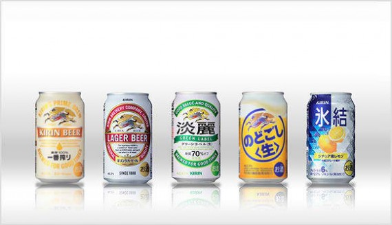 A photo of Kirin's beer products from the Kirin website