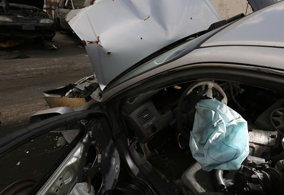 MEDLEY, FL - MAY 22: A deployed airbag is seen in a 2001 Honda Accord at the LKQ Pick Your Part salvage yard on May 22, 2015 in Medley, Florida.