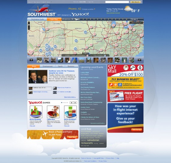 Southwest Airlines Wi-Fi Homepage