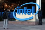 SANTA CLARA, CA - JANUARY 16: Visitors take pictures next to the Intel logo outside of the Intel headquarters on January 16, 2014 in Santa Clara, California. Intel will report fourth quarter earnings after the closing bell.
