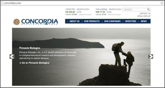 Screencap of Concordia website