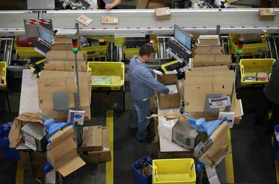 Amazon employees fill orders