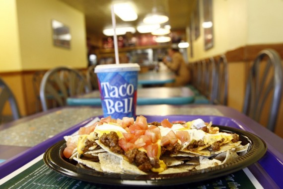 An order of nachos seen on a table at a Taco Bell restaurant in New York