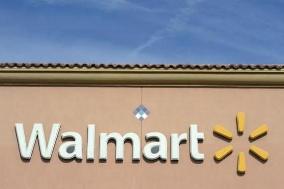 Walmart logo in a store in Los Angeles, California