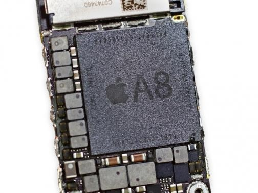 The processor of the iPhone 6 Plus is displayed at a product teardown by iFixIt